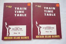 1968 Northern Ireland Railways Train Railway Timetable x2 Ireland Irish