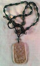 Celadon Jade and Nephrite Beads Nephrite Dragon Pendant Necklace
