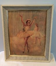 """Vintage Mid Century 11""""x14"""" Pal Fried Ballerina Lithograph Print In Orig Frame"""