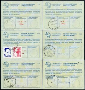 SYRIA REPLY PAID COUPONS IRCs 6 items 1973-88