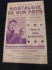 Partition Nostalgie de son pays Jean Ségurel & Maurice Duval