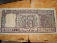 Old vintage Real Currency Ten Rupees Note From India 1965