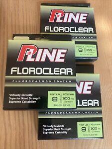 P-Line Floroclear Fluorocarbon Pline 8lb 300yd Mist Green Set Of 3 Spools NIB