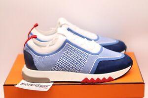 HERMES Paris Addict Sneaker | Blue White | Size 41.5 | Knit Summer 2020