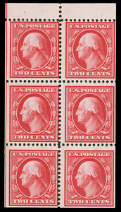 US 1908 2c CARMINE BOOKLET PANE OF SIX MLH #332a guide line to the left