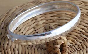 Solid 925 Sterling Silver Bangle Bracelet Plain Oval 9 mm D-Shape UK Hallmarked