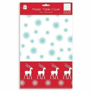 FESTIVE CHRISTMAS TABLE COVER PLASTIC BLUE WHITE AND RED REINDEER DESIGN DINNER