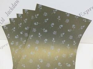 25 x Metallic Green Gold Shimmer Roses Paper A4 1-Sided 120gsm Cardmaking AM326