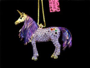 Betsey Johnson Purple Enamel Crystal Unicorn Horse Pendant Charm Coat Necklace