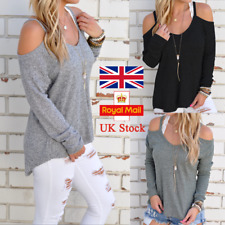 UK Women Cold Shoulder Knitted Sweater Casual Loose Blouse Jumper Ribbed Tee Top