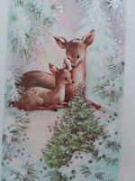 UNUSED Vtg SILVERED DEER Mom & Baby FAWN Snowy Winter CHRISTMAS GREETING CARD