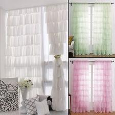 Gypsy Ruffled Shabby Chic Crushed Voile Sheer Window Curtain Panel Drape 1pc