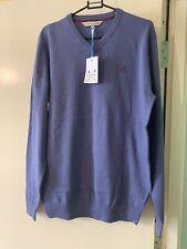 Crew Clothing Co Purple Cotton Cashmere Long/S V Neck Jumper M