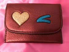 COACH F22956 Burgundy Glove Leather Glitter Star Card Case Pouch Mini Wallet NWT