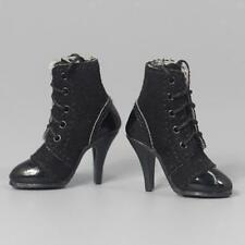 Black 1/6 Scale High Heel Ankle Boots Shoes for 12 inch HT/SS Female Figure