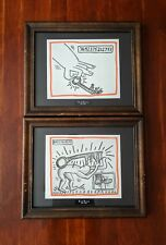 Vintage Keith Haring Lithograph Pictures Set Of 2, Vintage Keith Haring Artwork.