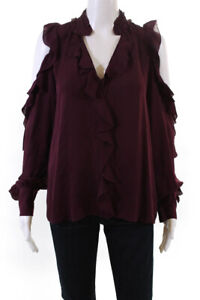 Parker Womens Silk Crepe Ruffled Cold Shoulder Blouse Top Red Size S