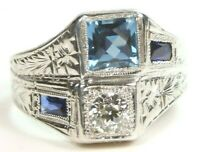 Antique Art Deco Vintage Diamond Aqua 14K White Gold Ring Size 8.25 UK-Q EGL USA