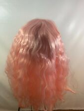 Halloween Party Light Pink Lace Front Wig Synthetic Fiber Hair Long Curly Wavy