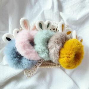Rabbit Fur Plush Hair Bands Elastic Fluffy Headband Ponytail Holder Accessories