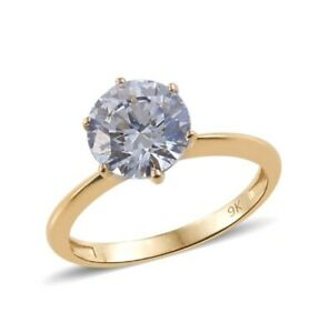 9ct yellow gold solitaire created diamond ring size Q