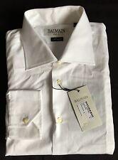 NWT $600 Balmain Paris Mens Solid White Cotton Button Down Dress Shirt 17.5 AUTH