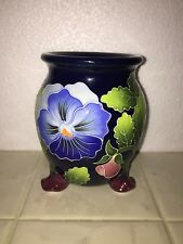Blue Sky Clayworks 2004 Floral Pansy Candle Holder Signed J McCall