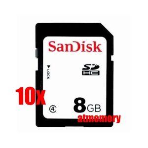 10x SanDisk 8GB SD SDHC 8G Class 4 Memory Card Bulk Package Lot of 10pcs
