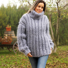 THICK 10 Strands Ribbed GRAY Hand Knit Mohair Turtleneck Sweater EXTRAVAGANTZA