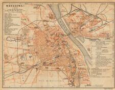 Warsaw I town/city plan miasta mapa. Poland. Warszawa. BAEDEKER 1912 old