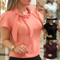 Womens Lady Elegant Blouse Short Sleeve Chiffon Summer Tops Formal Office Shirts