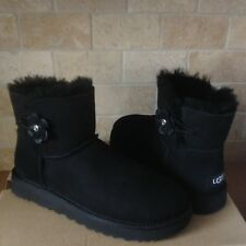 UGG Mini Bailey Petal Bling Swarovski Crystal Black Suede Boots Size 10 Womens