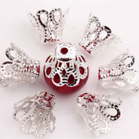 100Pieces Filigree Flower Cup Shape Silver Loose Bead Caps for Jewelry Making、AU
