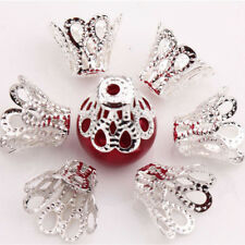 100Pieces Filigree Flower Cup Shape Silver Loose Bead Caps for Jewelry Making GS