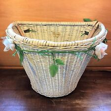 Vtg 1970's Front Handle Bar BICYCLE BASKET White Woven Plastic Wicker Wood Frame