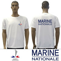 T-SHIRT FELIN BLANC MARINE NATIONALE Française TDM 100% Cotton - Taille S / 88