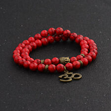 Fashion 8MM Red Turquoise Buddha Head Yoga Energy Women Men Bracelets Jewelry