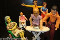BEAUTIFUL OLD POSEABLE BENDY DOLLS HOUSE PERIOD FAMILY HIGH CHAIR IRONING BOARD