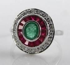 CLASSE 9k 9CT Rubino Oro Bianco Smeraldo Diamante Art Deco INS Anello libero Ridimensiona