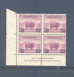 AUSTRALIA PREDECIMAL 1941 SURCHARGES IMPRINT BLOCK VERY FINE MNH/MLH......18