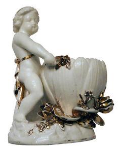 Antique Circa 1880 Minton Sweetmeat Flower Dish with Cupid Cherub Putto