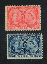 Ckstamps: Canada Stamps Collection Scott#53 54 Jubilee Mint H Og #53 Tiny Thin