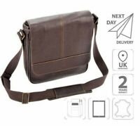 "10.1"" iPad Leather Flap-Over Messenger Shoulder Business Casual Bag Brown FI6702"