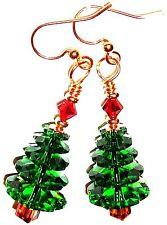 Red Green Christmas Tree Gold Kirsten Earrings USA Handmade Gift Srwvski Crystal