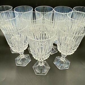 Crystal Wine Glass Set 12 Water Goblets Vertical Cut Hexagon Base Faceted SH