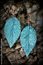 Boho Metal Copper Patina Leaf Earrings Turquoise Colour Dangle Wire - Copper
