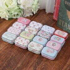 Flower Mini Tin Trinket Jewelry Coin Box Tinplate Storage Case Small Rectangular