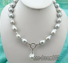 "18"" 14x20mm baroque gray reborn keshi pearl necklace pendant"