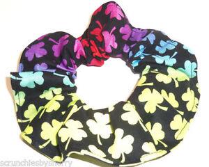 St Patricks Day Hair Scrunchie Green Sequin Shamrocks Tie Scrunchies by Sherry