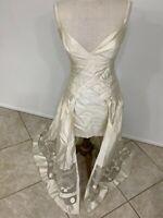 Vintage Bernard Perris, Ivory Silk Shantung + Organza Gown - Made In France - 4
